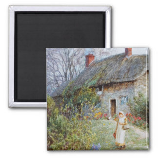 Girl on a Cottage Pathway Refrigerator Magnets