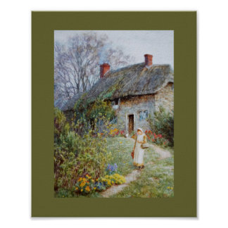 Girl on a Cottage Pathway Posters