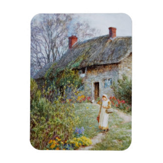 Girl on a Cottage Pathway Magnet