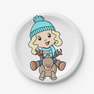 Girl On A Deer Paper Plate