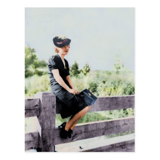 Girl on a Fence 1940 Postcard