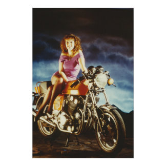 Girl On A Motorcycle Medium Poster