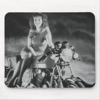 Girl On A Motorcycle Mouse Pad
