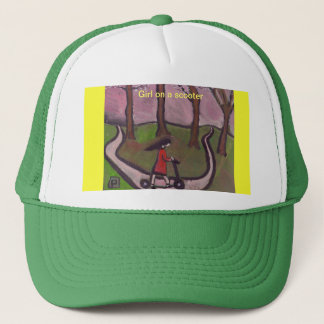 Girl on a scooter trucker hat