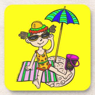 Girl On Beach Beverage Coaster