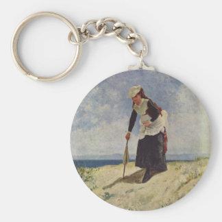Girl on beach - Giuseppe de Nittis Key Chains