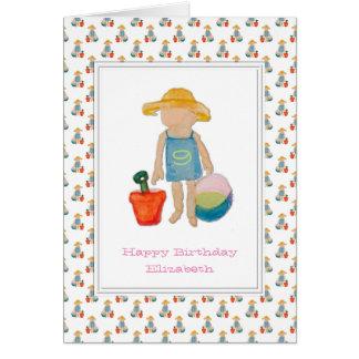 Girl on Beach - Happy 9th Birthday Greeting Card