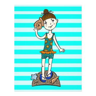 Girl On Beach With Seashell 21.5 Cm X 28 Cm Flyer