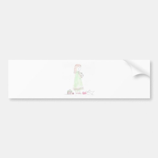 Girl on Christmas Morning Bumper Stickers