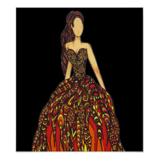Girl on Fire Dress Poster
