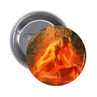 Girl on Fire - Passionate Fire Art 6 Cm Round Badge