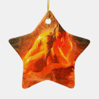 Girl on Fire - Passionate Fire Art Ceramic Star Decoration