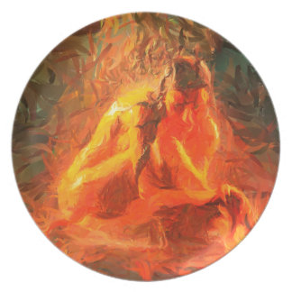 Girl on Fire - Passionate Fire Art Plate