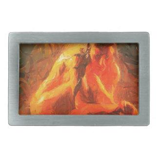 Girl on Fire - Passionate Fire Art Rectangular Belt Buckles