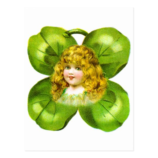 Girl on Giant Shamrock Vintage St Patrick's Day Postcard