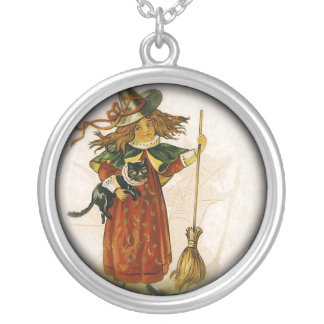 Girl On Halloween With Her Cat And Broom Custom Necklace