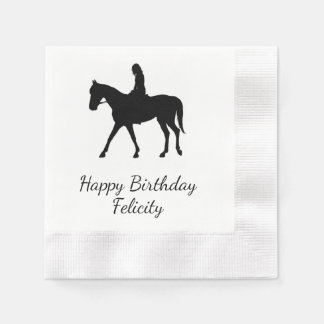 Girl on Horse Personalized Disposable Serviettes