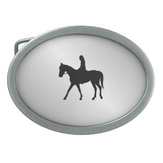 Girl on Horse Silver Belt Buckles
