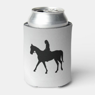 Girl on Horse Silver Can Cooler