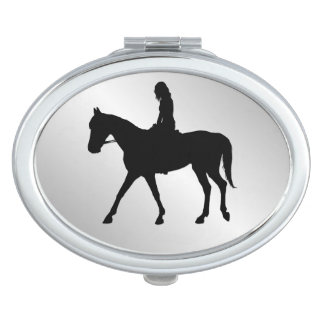 Girl on Horse Silver Makeup Mirrors