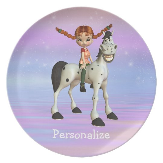 Girl on Pony Magical Fantasy Personalised Plate