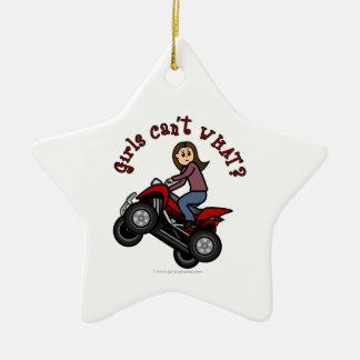 Girl on Red Four Wheeler Christmas Ornament