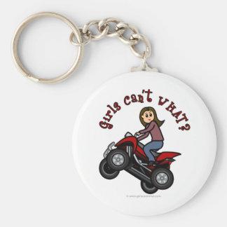 Girl on Red Four Wheeler Key Ring
