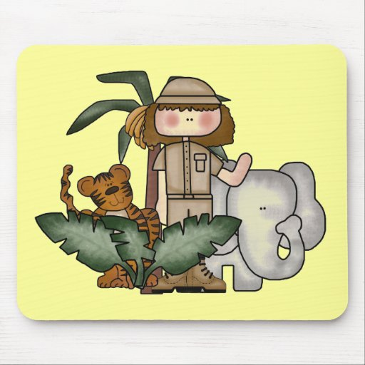Girl on Safari Tshirts and Gifts Mousepads