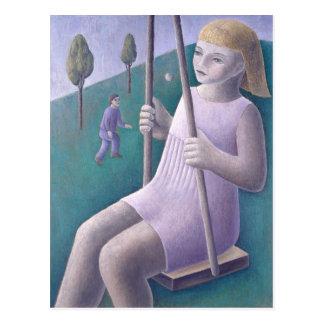 Girl on Swing 1996 Postcard