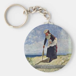 Girl On The Beach By Nittis Giuseppe De Keychains