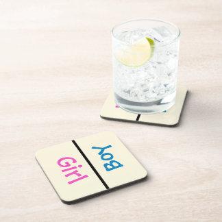 Girl or Boy Baby Gender Reveal Pink & Blue Beverage Coasters