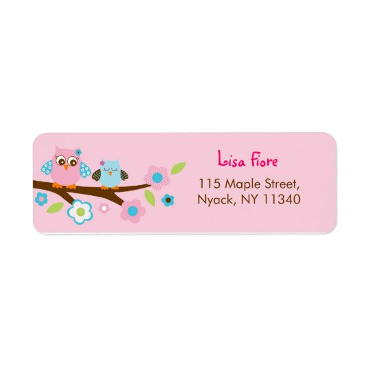 Girl Owl Pink Turquoise Address Labels
