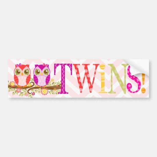 Girl Owl TWINS! Bumper Sticker