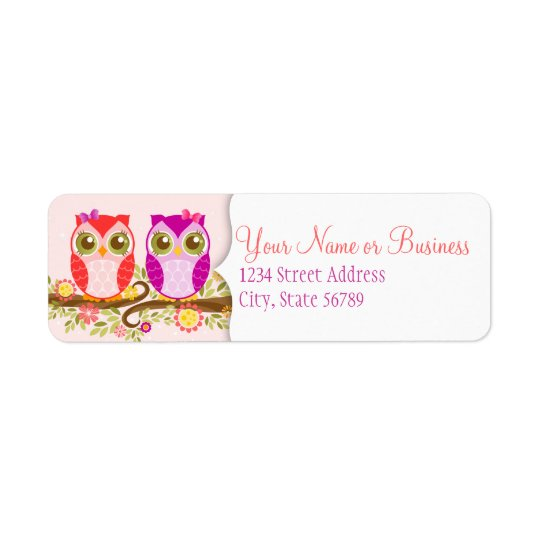 Girl Owls - Custom Return Address Labels