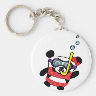 Girl Panda in Bikini Snorkling Basic Round Button Key Ring