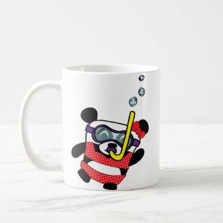 Girl Panda in Bikini Snorkling Basic White Mug