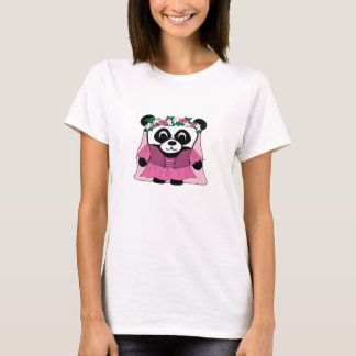 Girl Panda in Pink Renaissance Dress