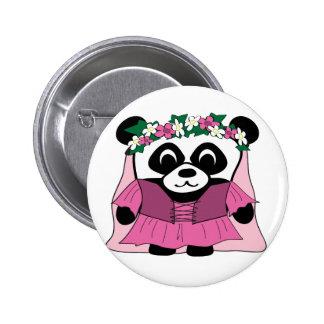 Girl Panda in Pink Renaissance Dress 6 Cm Round Badge