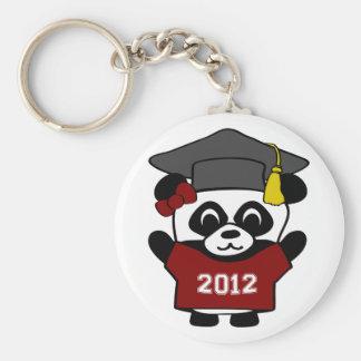 Girl Panda Maroon & White 2012 Grad Basic Round Button Key Ring
