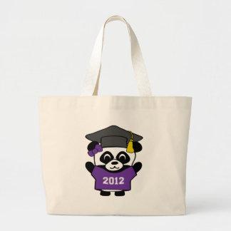 Girl Panda Purple & White 2012 Grad Large Tote Bag