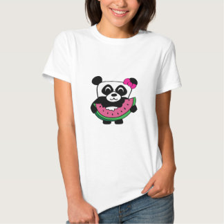 Girl Panda with Watermelon Slice T-shirts