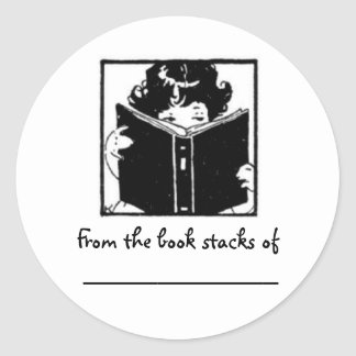 Girl peeking over book~ From the book stacks of... Classic Round Sticker