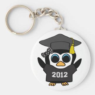 Girl Penguin Black White 2012 Grad Keychains