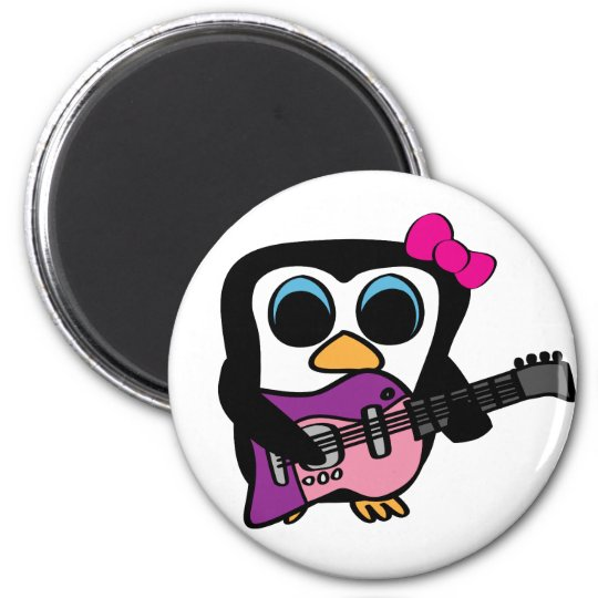 Girl Penguin with Electric Guitar Magnet