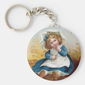 Girl Perplexed by Giant Pumpkin Vintage Basic Round Button Key Ring