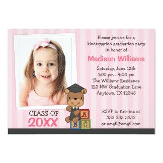 Girl Photo Graduation Bear Pink Stripes Invitations