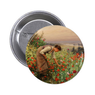 Girl Picking Poppies Button