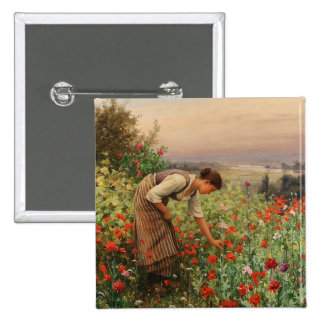 Girl Picking Poppies Square Button