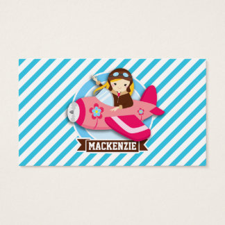 Girl Pilot in Pink Airplane; Blue & White Stripes Business Card