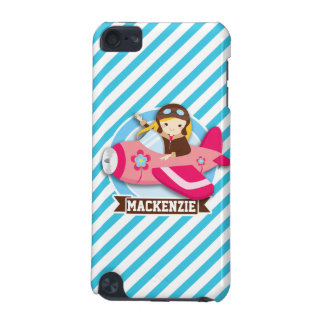 Girl Pilot in Pink Airplane; Blue & White Stripes iPod Touch 5G Case